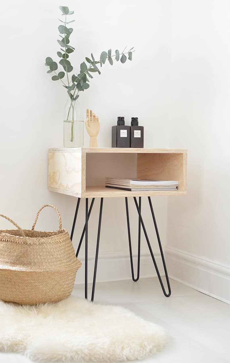 Midcentury hairpin leg and singular crate night stand