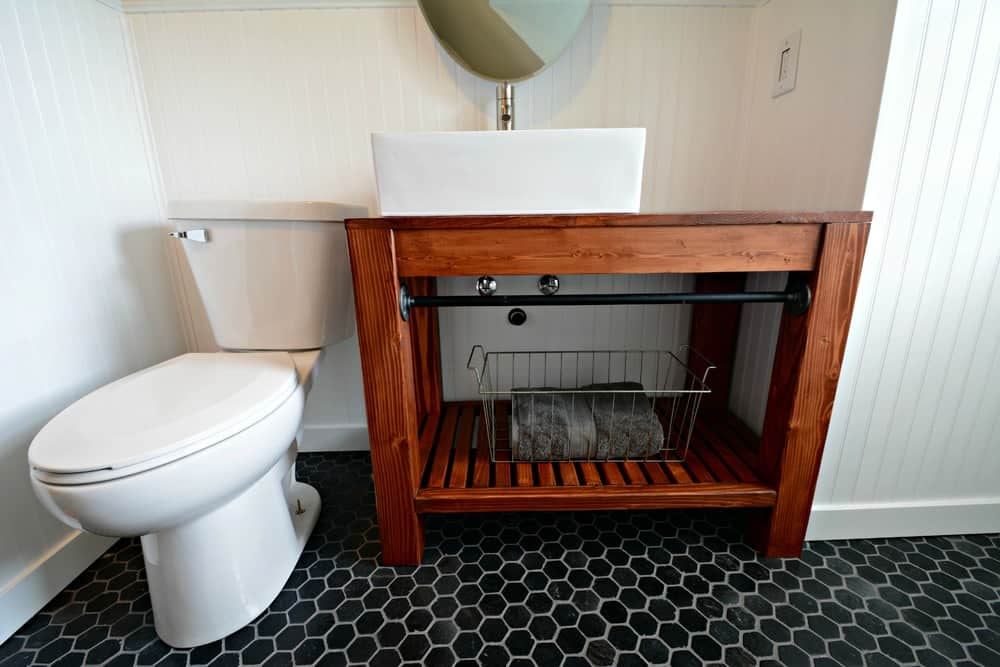 Modern farmhouse inspired bathroom vanity table for small spaces