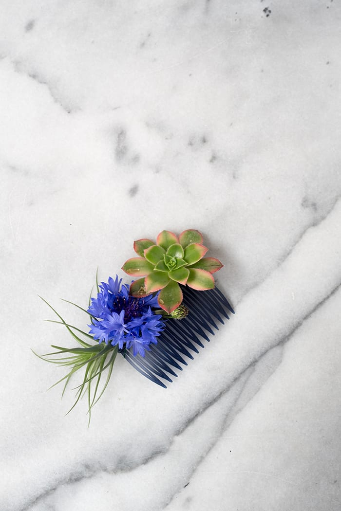 Modern floral and succulent hair comb