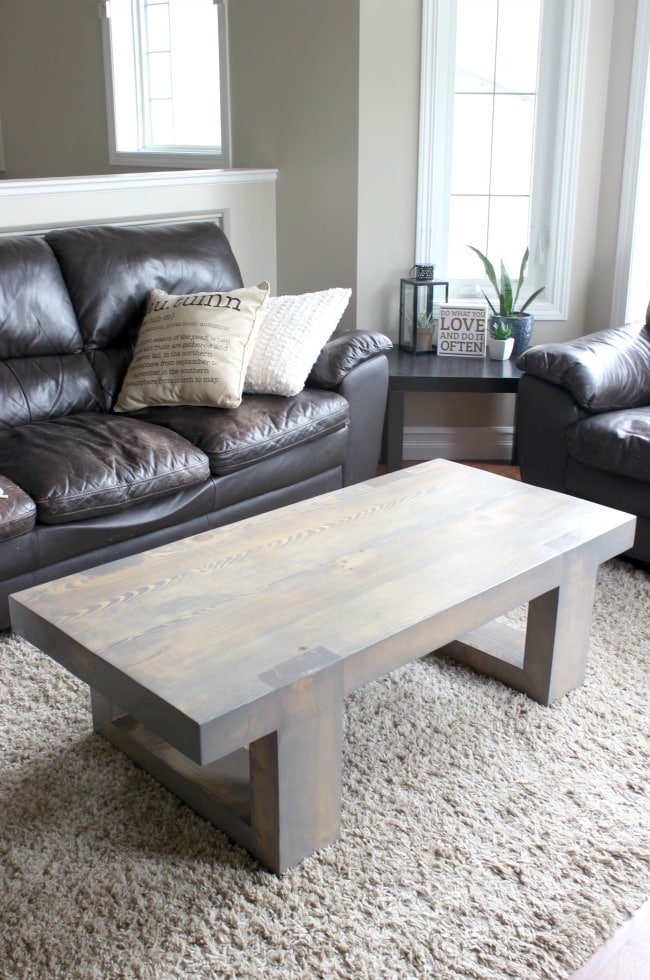 Modern stained wood coffee table