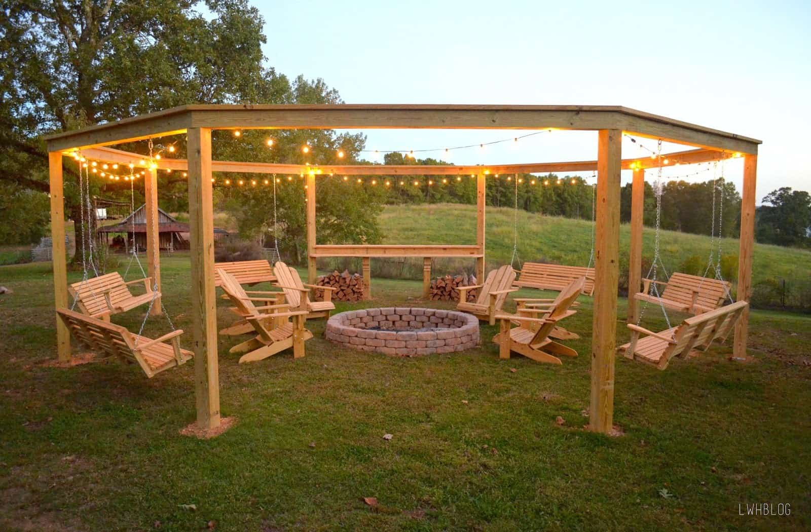 Open top pergola with a fire pit and swing seats