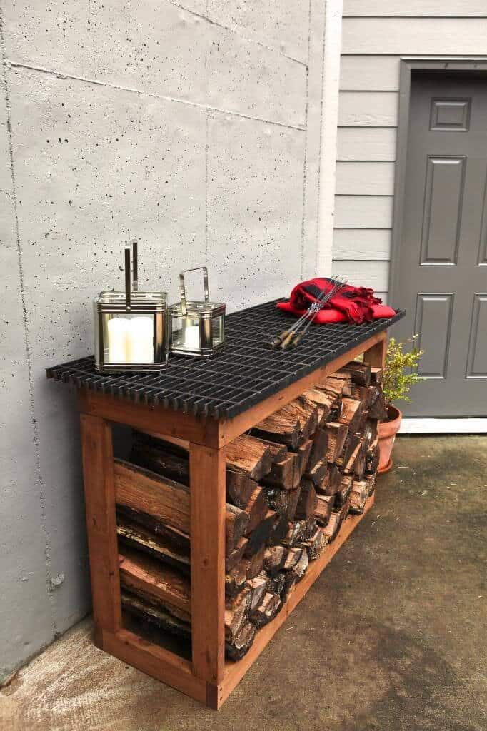 Outdoor firewood storage with countertop