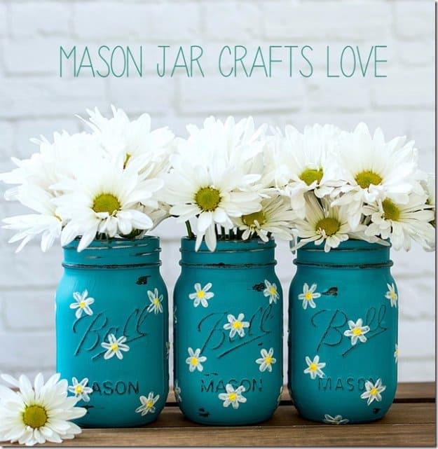 Painted daisy mason jar