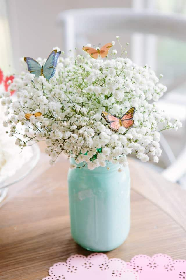 Painted mason jar butterfly bouquet