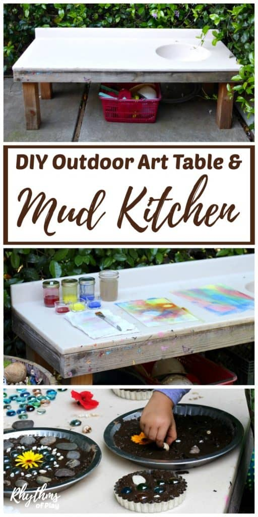 Patio art table and mud kitchen