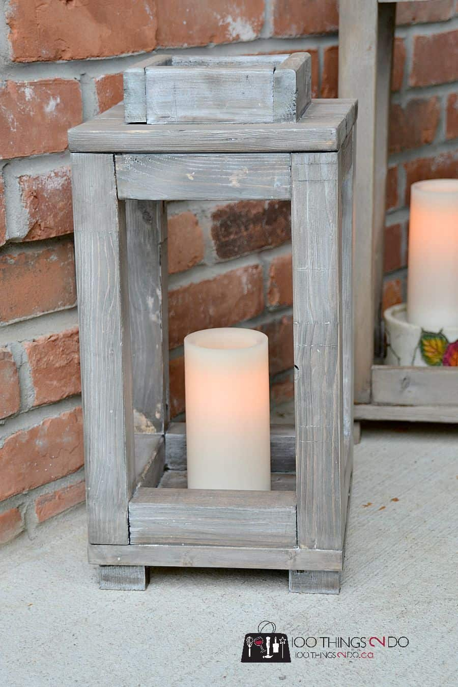 Pottery barn knockoff rustic wood lanterns