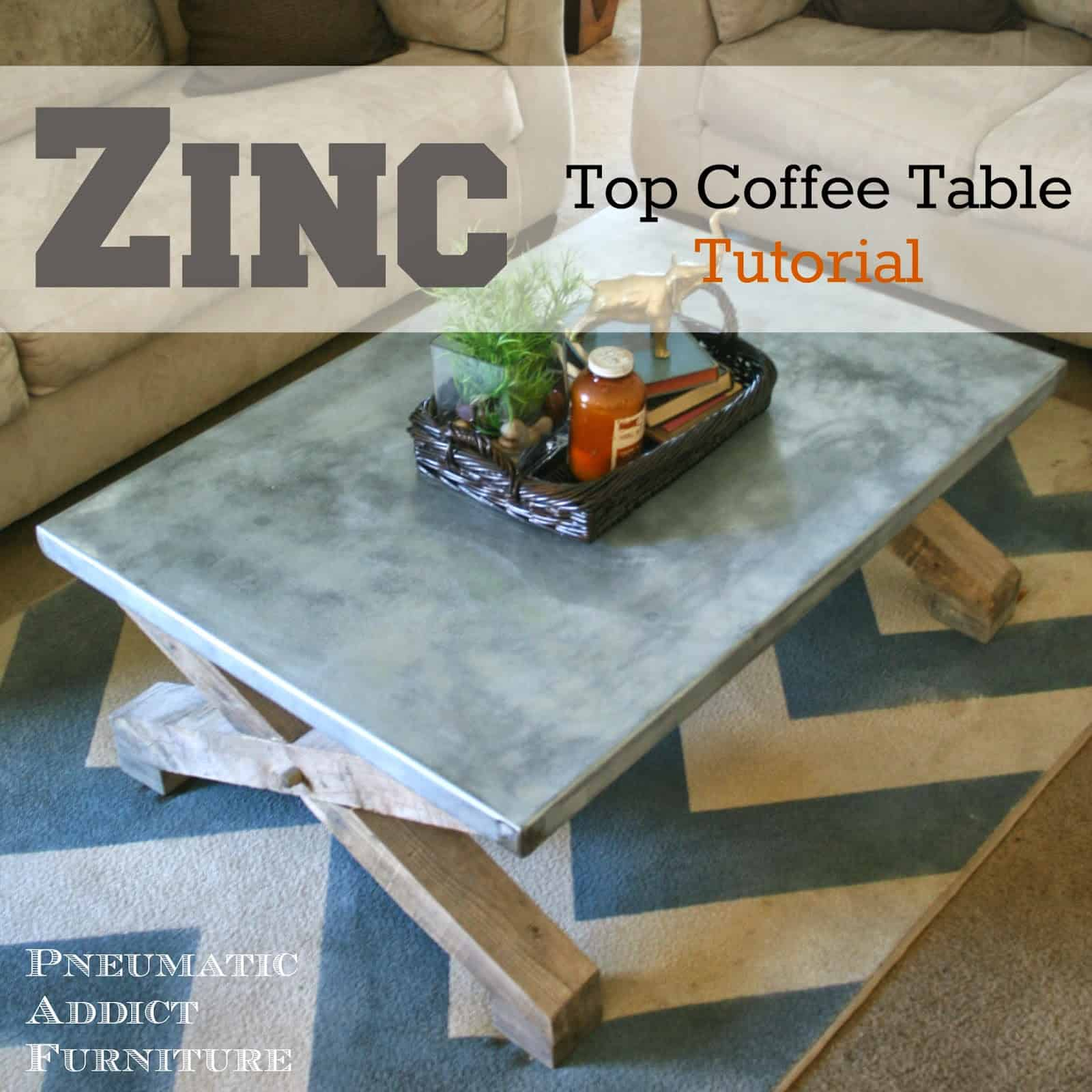 Pottery barn knockoff zinc coffee table