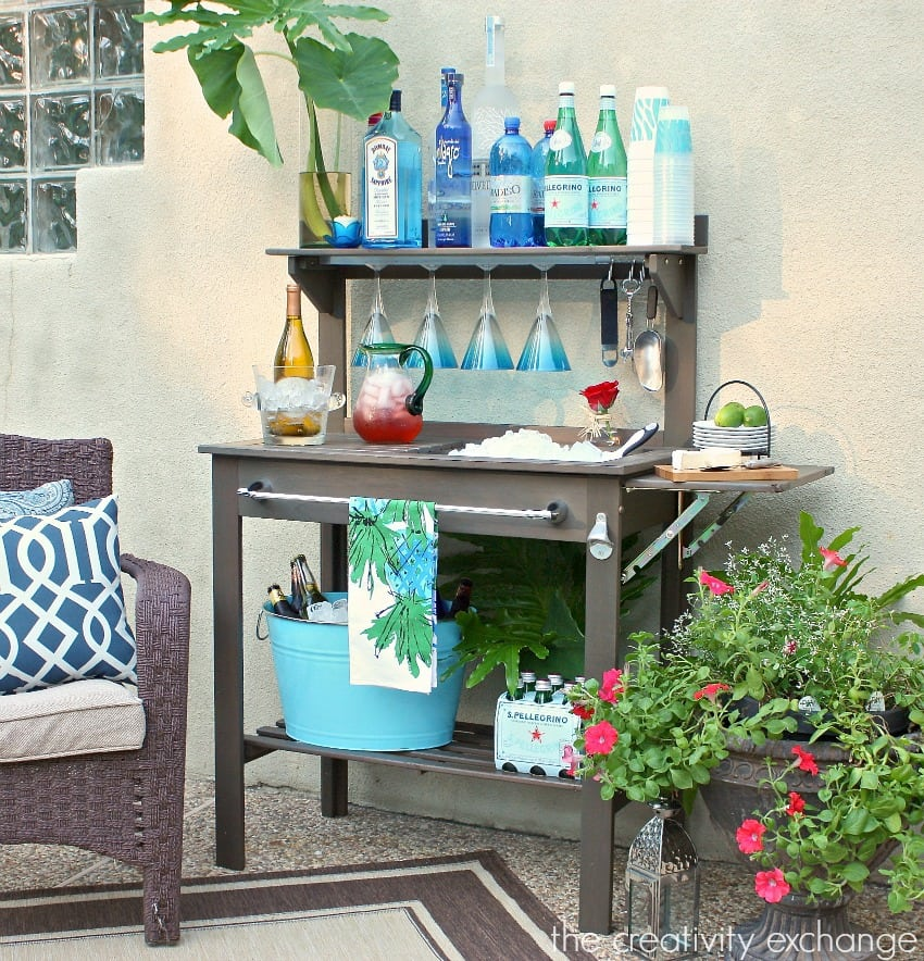 Potting bench turned patio bar