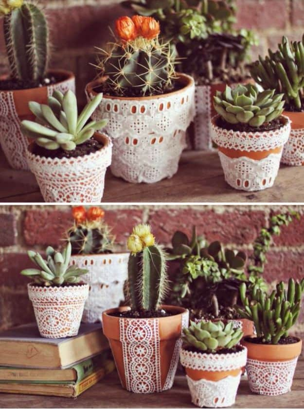 Pretty lace flower pots