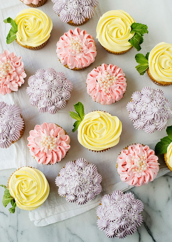 Rose, zinnia, and hydrangea cupcakes
