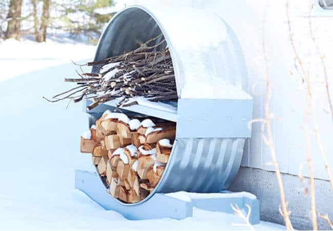 Round tin drum rack to organize firewood and kindling
