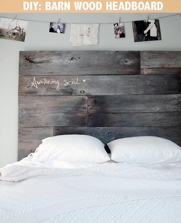 Rustic barnwood headboard