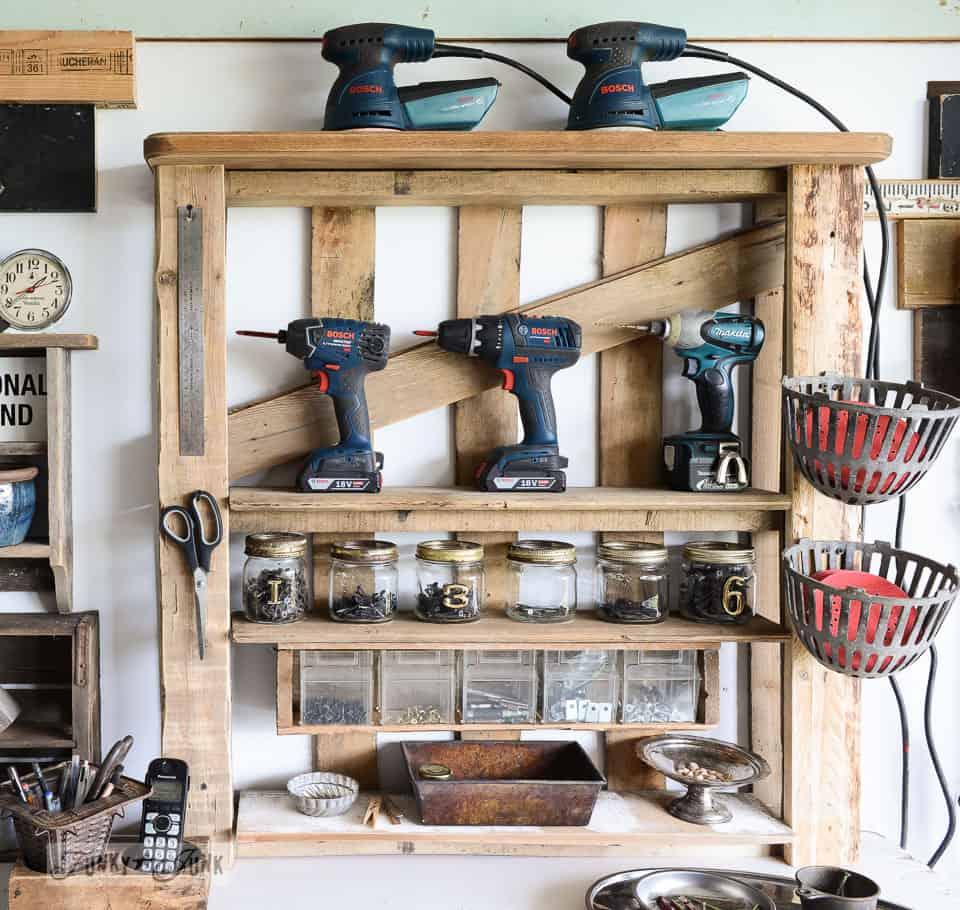 Rustic pallet tool storage