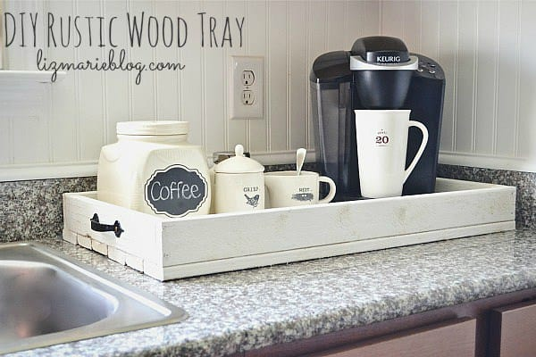 Rustic wood tray coffee station