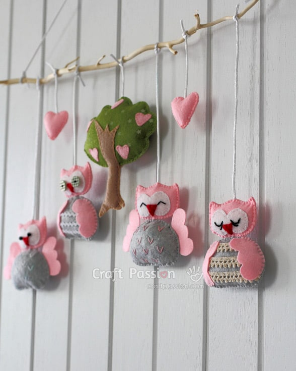 Sewn owl nursery mobile