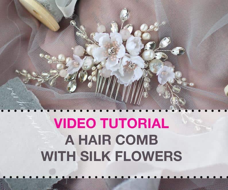 Silk flower, rhinestone, and pearled embellishment hair comb