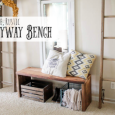 Simple, rustic diy entryway bench