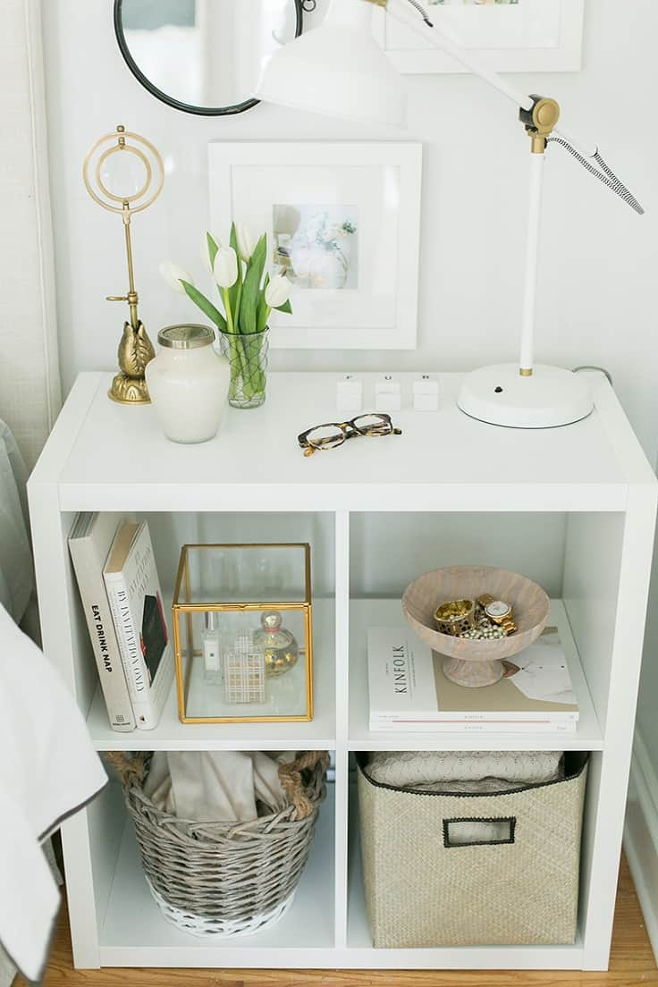 Sitting cubby night stand form an ikea kallax shelf