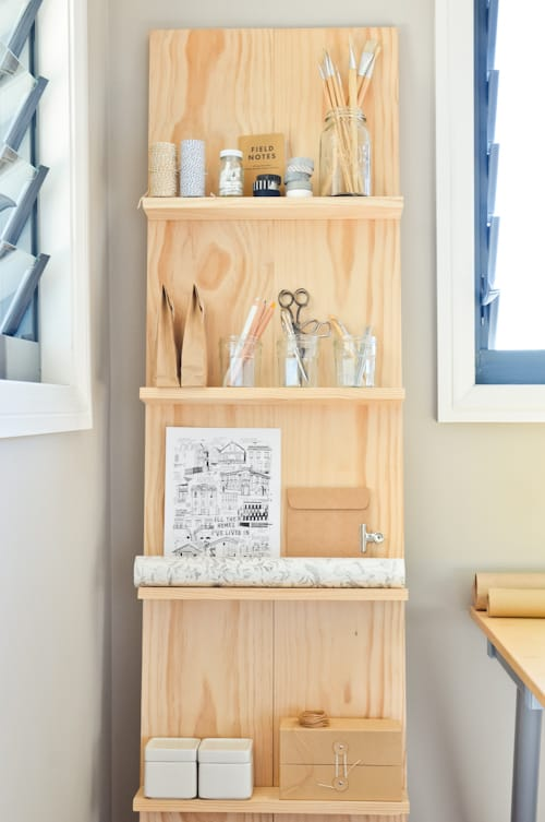 Slanted wood shelf