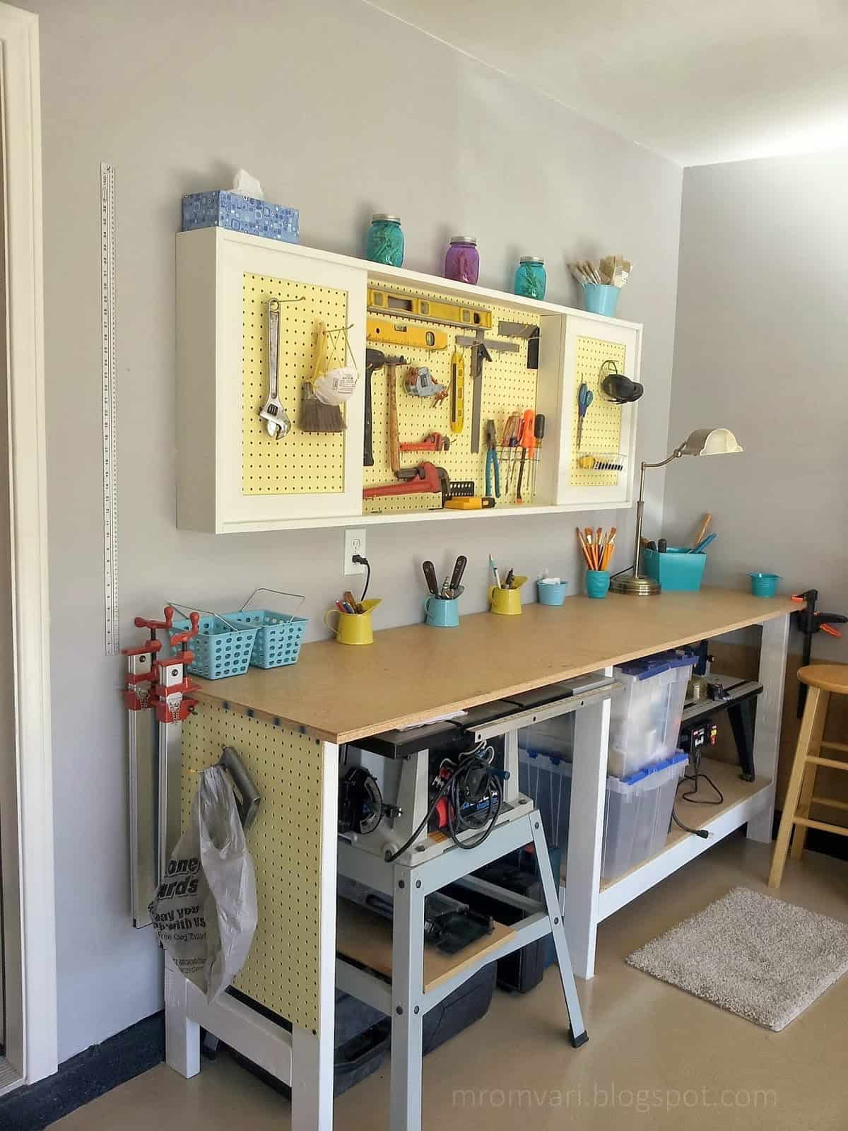Smaller pegboard cabinet and matching workbench