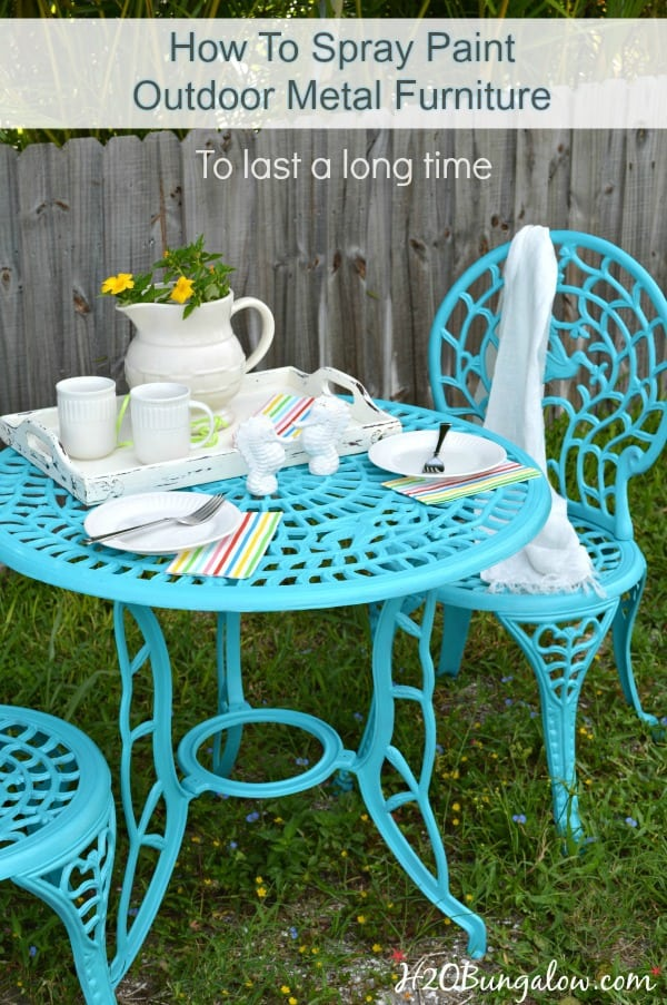 Spray painted metal patio furniture update project