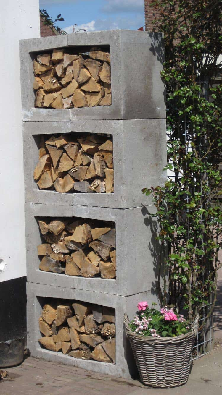 Stacked cinder block log storage