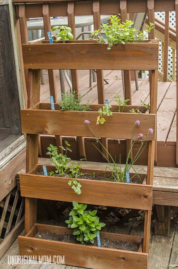 Stacked window box herb garden