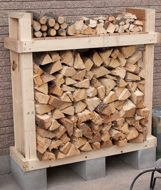 Tall timber and cinder block wood rack