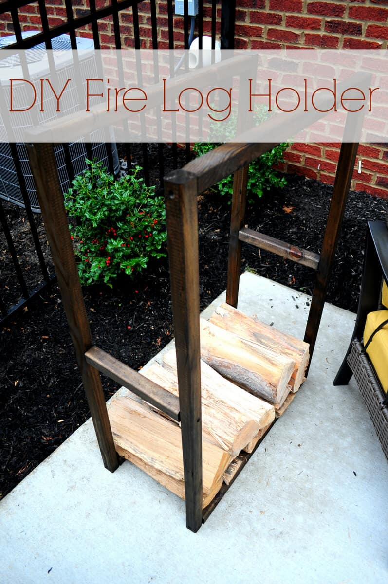 Thin, stained firewood rack for a small space