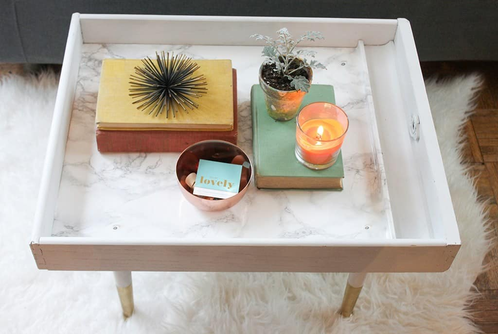 Upcycled drawer to modern coffee table