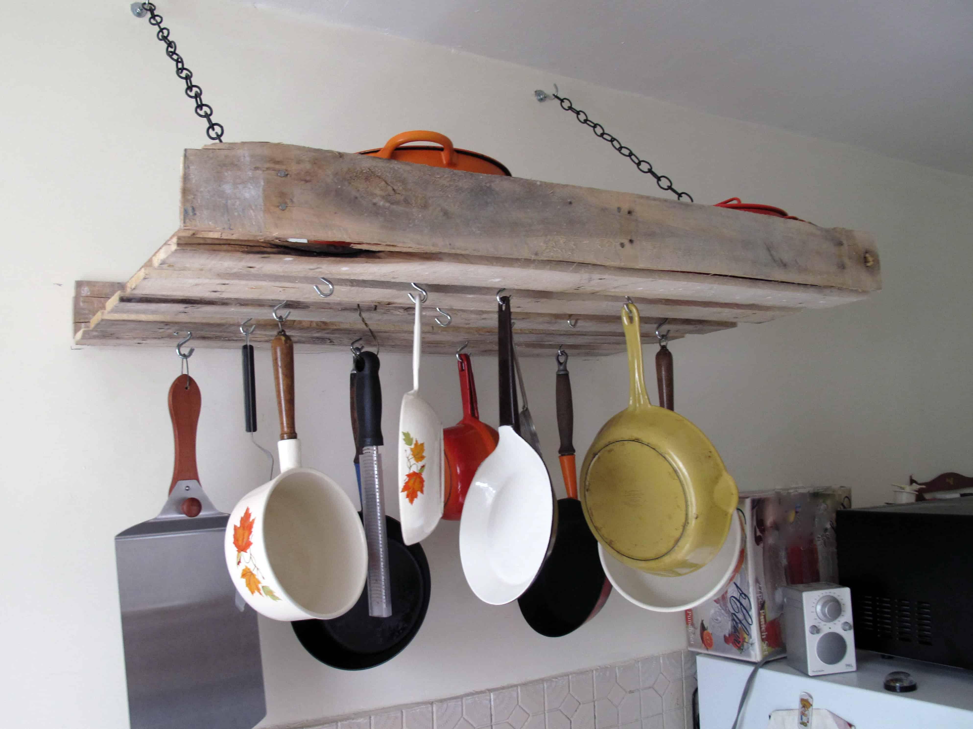 Wall mounted pallet pot rack