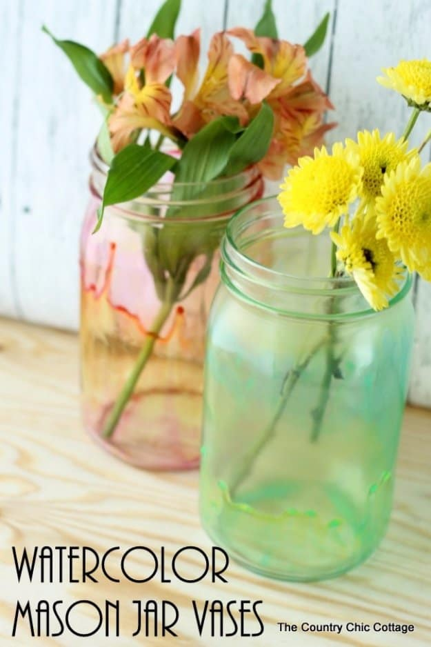 Watercolor mason jar vases