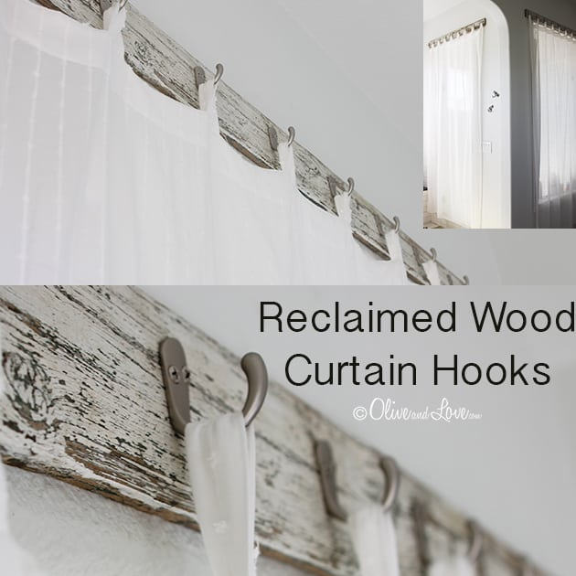 Window screen from reclaimed wood, coat hooks, and a shower curtain