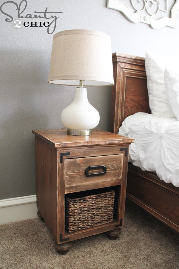 Wood and basket night stand with bun feet