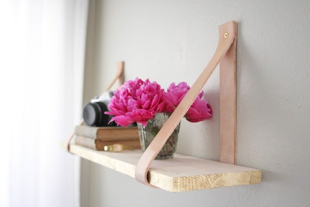 Wood and leather suspended shelf