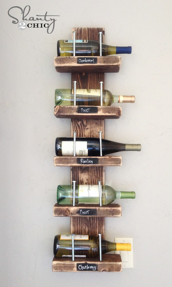 Wood and nail rustic wine shelf