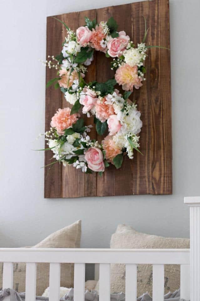 Wood mounted floral monogram