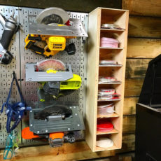 Wooden cubby sanding disc storage