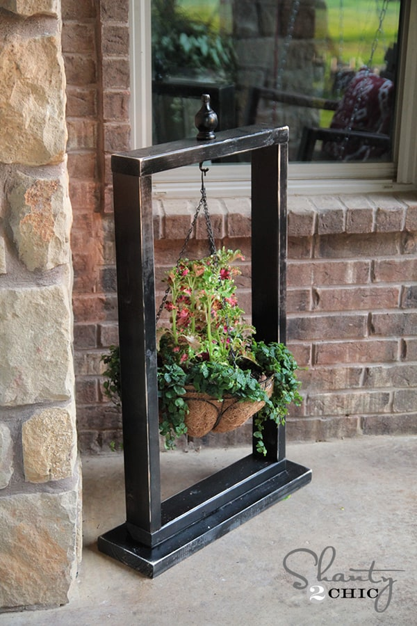 Wooden hanging planter stand