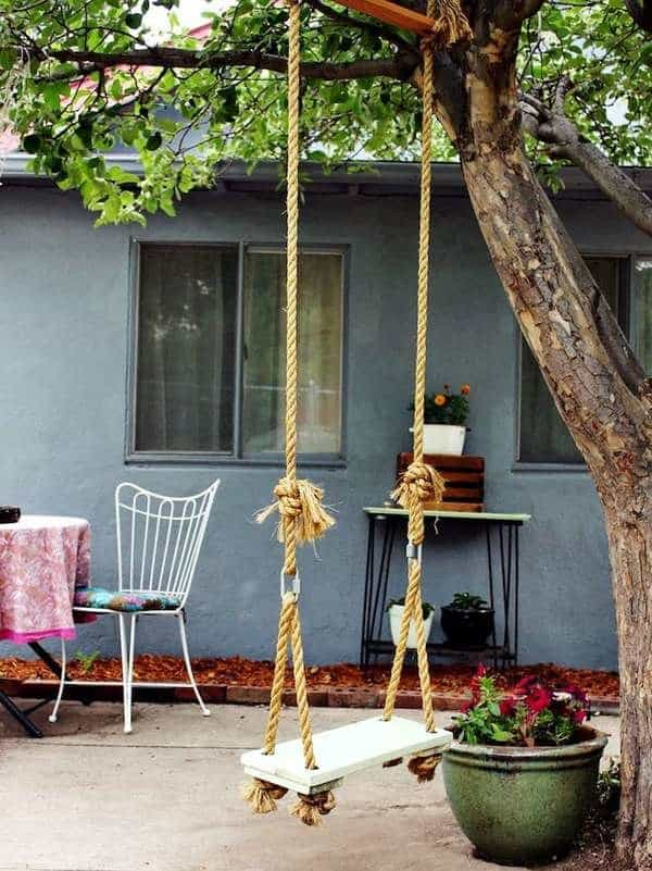 Wooden patio tree swing
