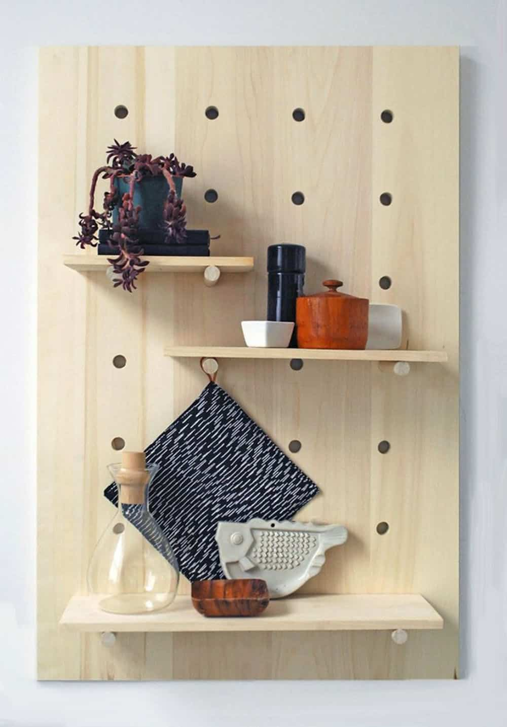 Wooden pegboard shelf