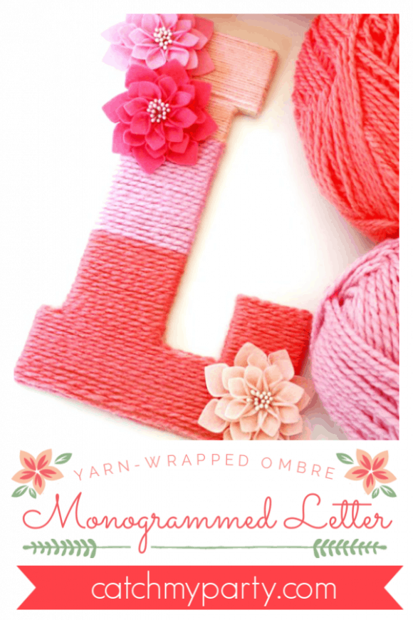 Yarn wrapped ombra monogram