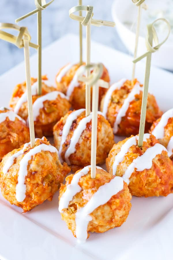 Buffalo chicken and blue cheese stuffed meatballs