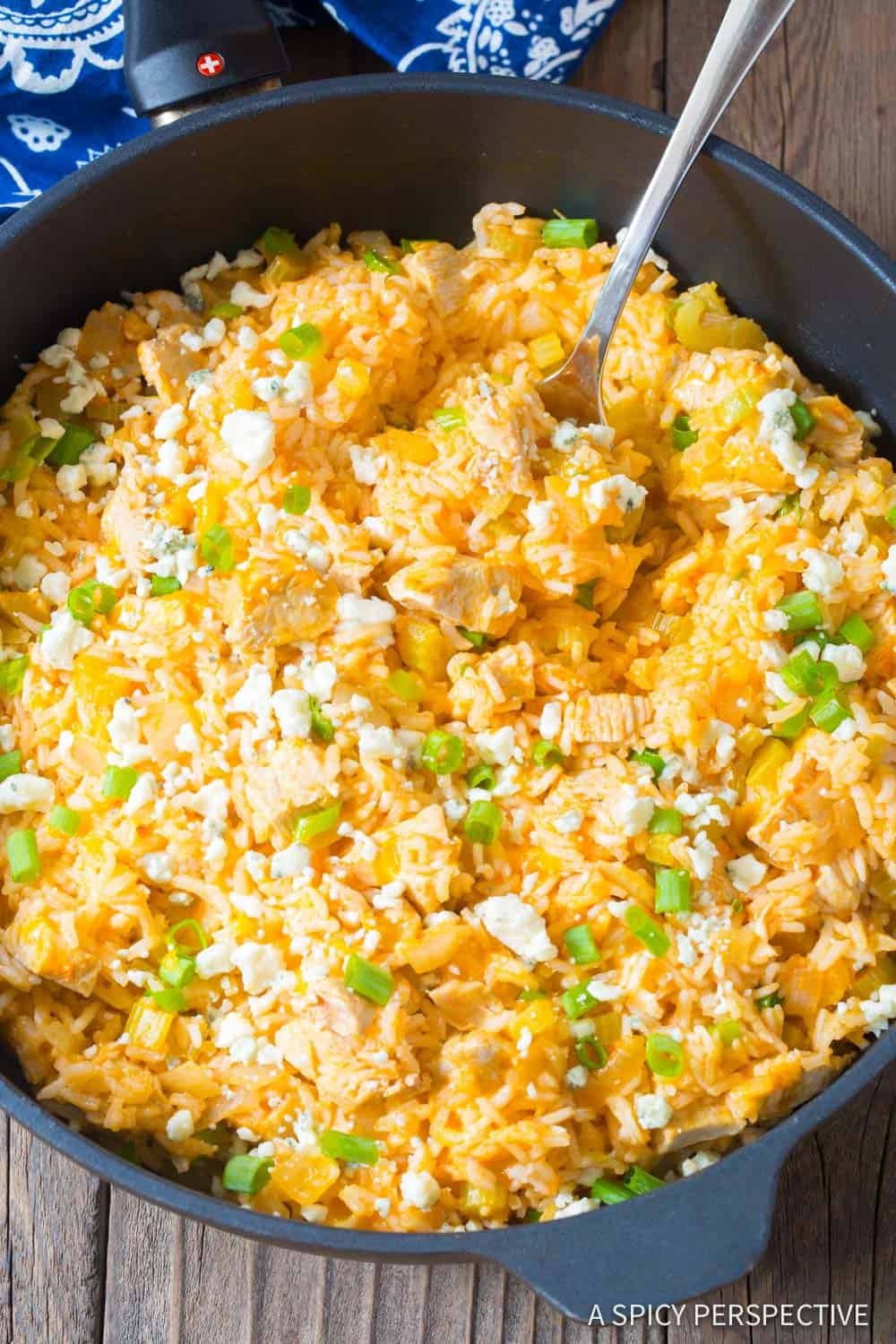 Buffalo chicken and rice skillet