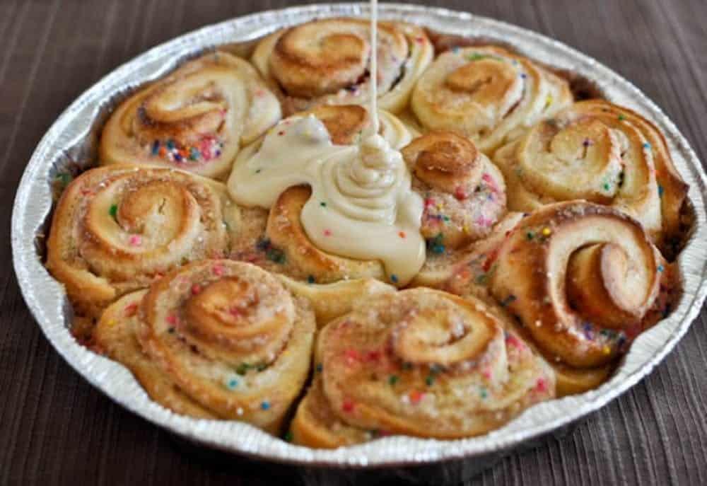 Cake batter cinnamon buns