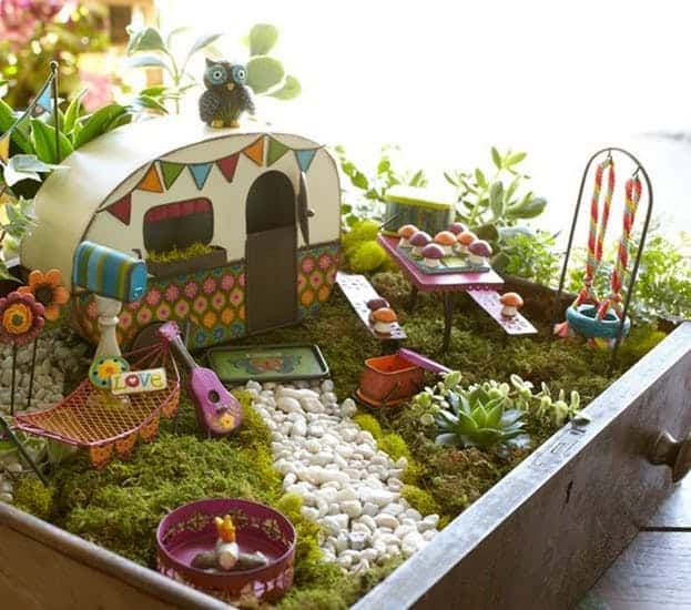 Diy fairy garden with motor home