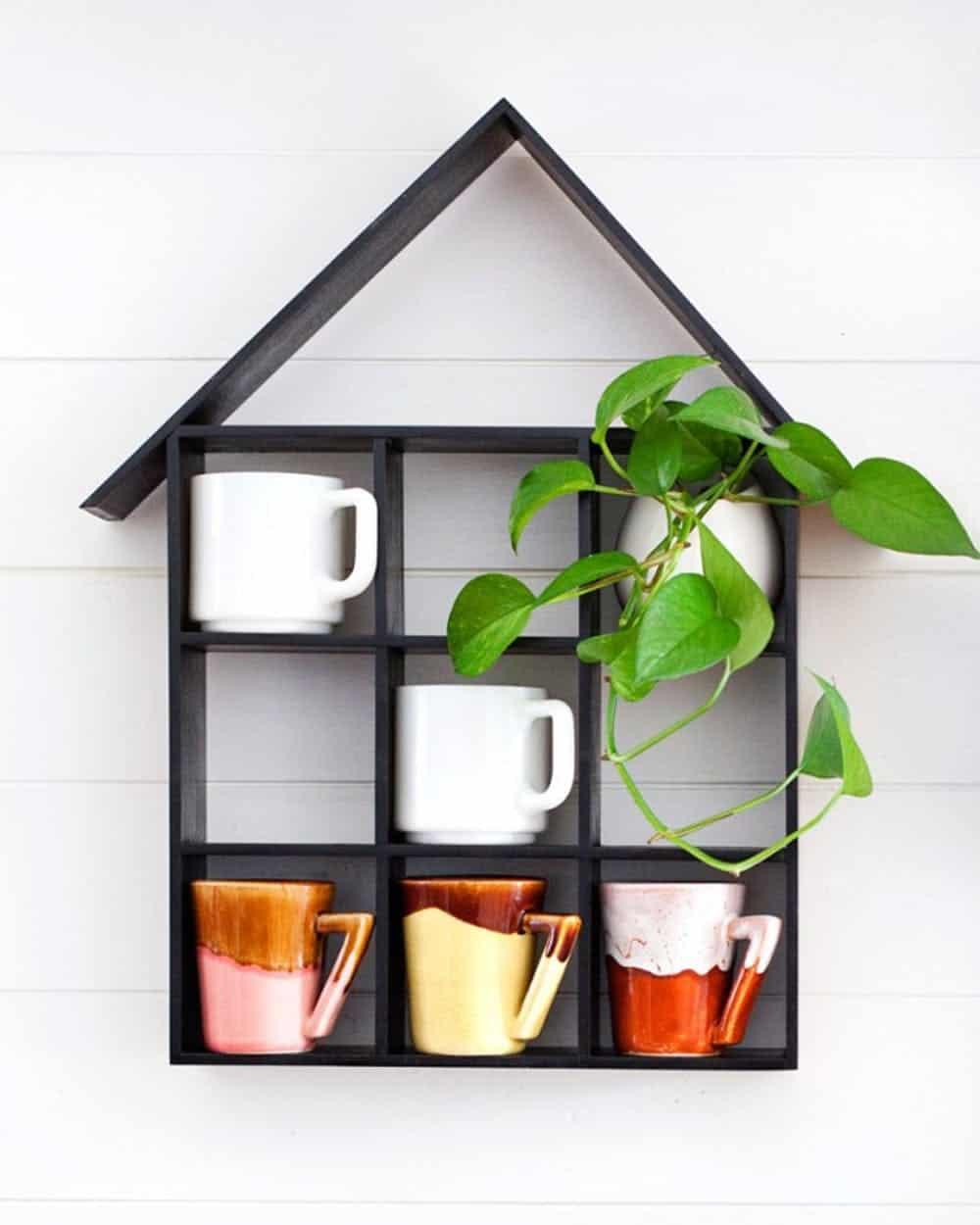 Diy house shaped shelf