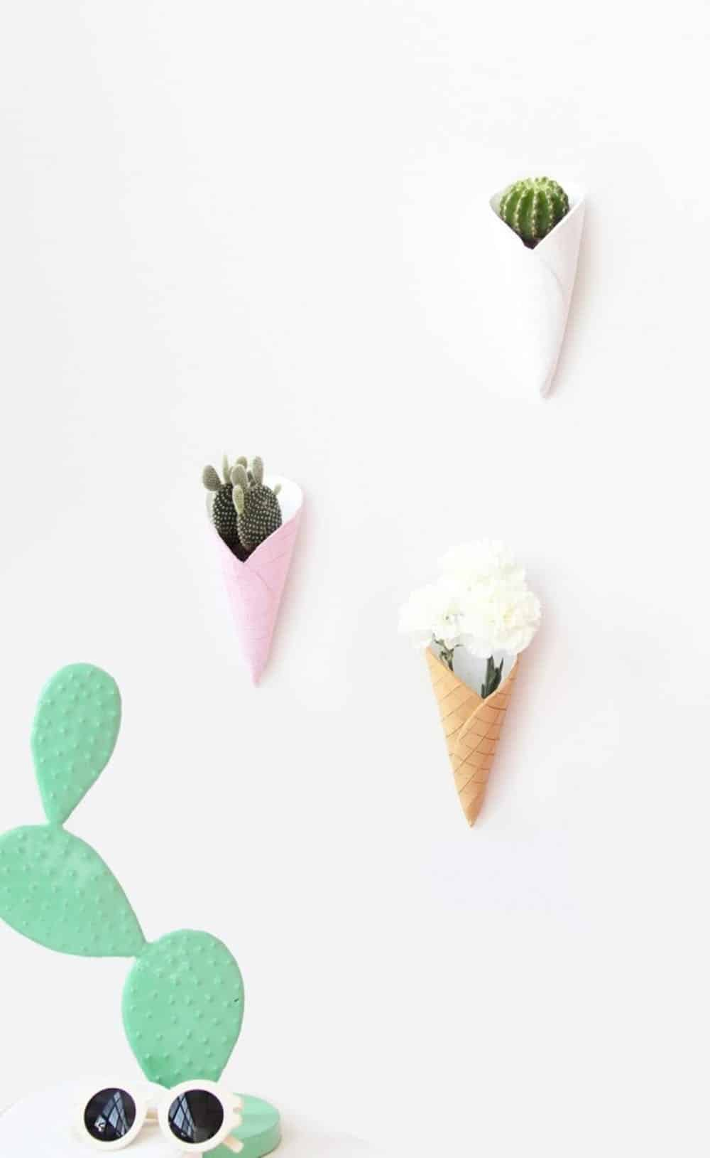 Diy ice cream cone wall planters