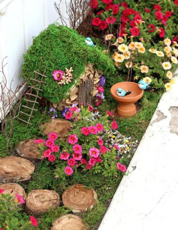 Diy mini fairy garden with birdbath 2