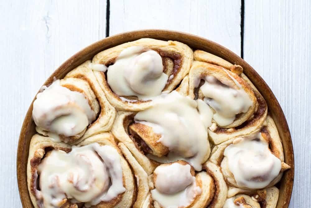 Half baked harvest easy fluffy eggnog cinnamon rolls 16